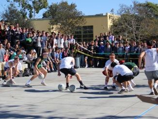 "Costa students participate in the annual Dodgeball tournament. The Salty Crew dodgeball team defeated 4""11 in the dodgeball finals at Mira Costa High School on December 7th."