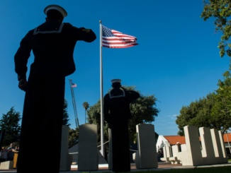 U.S. Naval Sea Cadets of the South Bay Coastal Division salute during the National Anthem at the Redondo Beach Veterans Day ceremony at Veterans Park in Redondo Beach Saturday, November 11, 2017. T(Photo by Thomas R. Cordova Daily Breeze/SCNG)