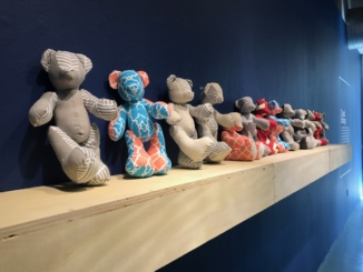 """Manhattan Beach Art Center's new exhibit """"Toyetic"""" features artwork inspired by the toy industry. Artist Chuck Hong's stuffed teddy-bear sculptures (pictured above) are on display in the exhibit."""